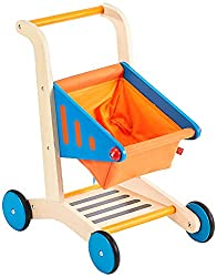 Best wooden toys for toddlers and preschoolers featured by top Seattle mommy blogger, Marcie in Mommyland: image of a wooden shopping cart