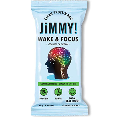 Jimmy! Wake & Focus Bar, Cookies 'N Cream, Protein Bar with Guarana Caffeine, Omega 3 and MCT Oils, 12 Count