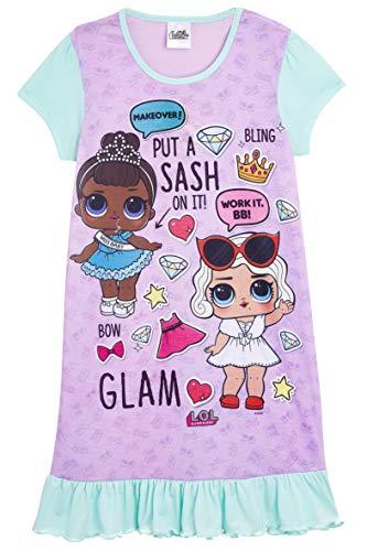 L.O.L Surprise Nightie oder Shortie Puppen Confetti Pop Nachthemd Kleider für Mädchen weiche Baumwolle Lil Outrageous Littles (9-10 Jahre, lila)