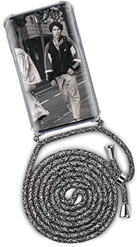 ONEFLOW® Handykette + Hülle passend für Samsung Galaxy S20 Ultra | Stylische Kordel Kette - Kristallklare Handyhülle mit Band zum Umhängen in Schwarz Grau Weiß