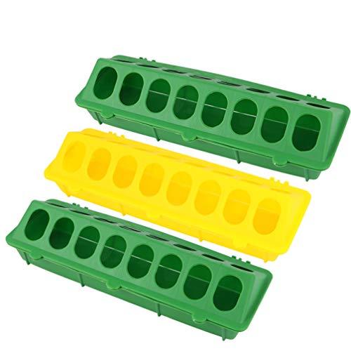 YARNOW 3 Stück Flip-Top-Hühnerfutterautomat Kunststoff-Flip-Top-Geflügelfutterautomat Futterschlitz für Taubenwachteln Zufällige Farbe 30 * 12. 5 * 8 cm