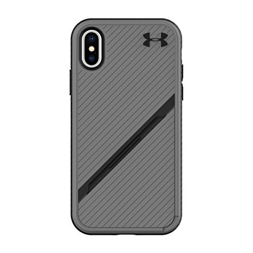 Under Armour Phone Case | For Apple iPhone X and 2018 iPhone XS | Under Armour UA Protect Kickstash Case with Rugged Design and Drop Protection - Graphite / Black