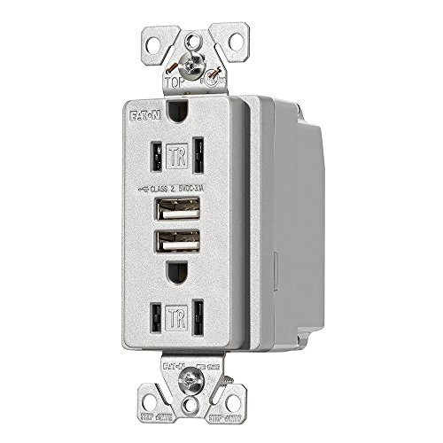 EATON TR7755SG-K-L Combination USB Charger with Tr Duplex Receptacle, Wire Leads, 12-14 Awg, 125 Vac, 15 A, Silver Granite