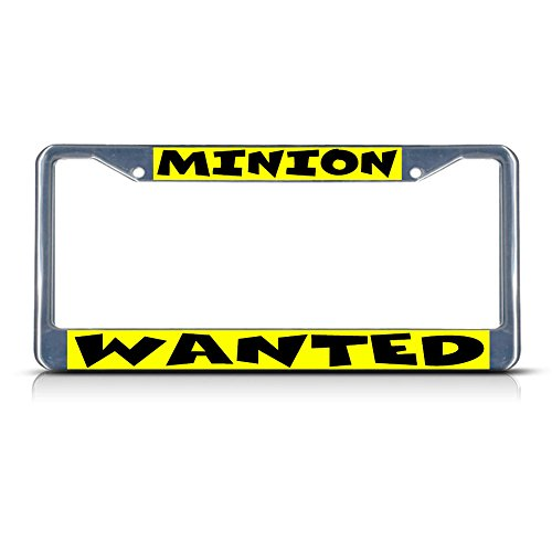 Minion Wanted Chrome Metal License Plate Frame Tag Holder Perfect for Men Women Car garadge Decor
