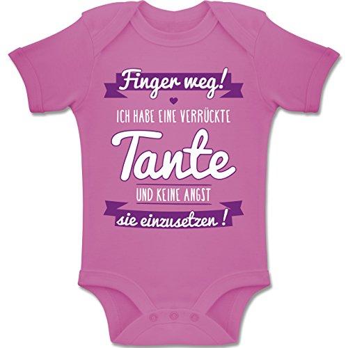 Shirtracer Sprüche Baby - Ich Habe eine verrückte Tante Lila - 6-12 Monate - Pink - BZ10 - Baby Body Kurzarm Jungen Mädchen