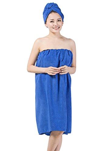 Price comparison product image FakeFace Women Wearable Bath Towels Adjustable Soft Thick Strapless Cover up Bath Spa Towel Wrap Tube Dress Bathrobe Bathing Towel Dressing Gown Housecoat Hair Turban Set Blue
