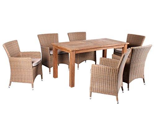 Trendy-Home24 7tlg. Essgruppe Sitzgruppe 160 x 80 cm Teakholz hochwertiges Polyrattan Sessel Sitzgruppe Teaktisch Gartenmöbel beige