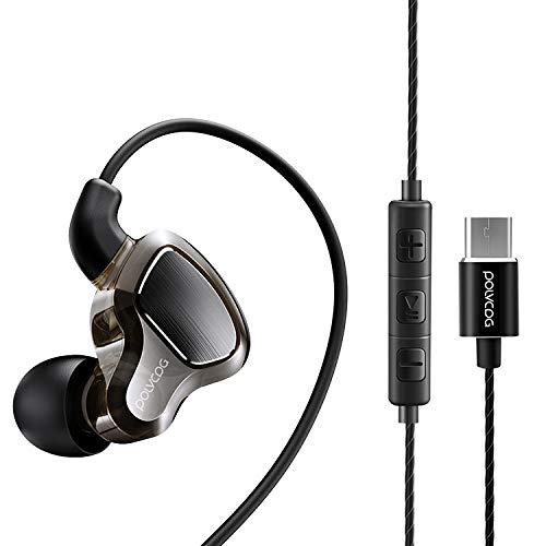 LWL House POLVCDG D6T Círculo de Doble Movimiento de Interfaz USB-C/Type-C en Auricular estéreo con Cable Aleatorio para XIAOMI/OPPO/Huawei/Vivo, versión de sintonización (Negro) Durable