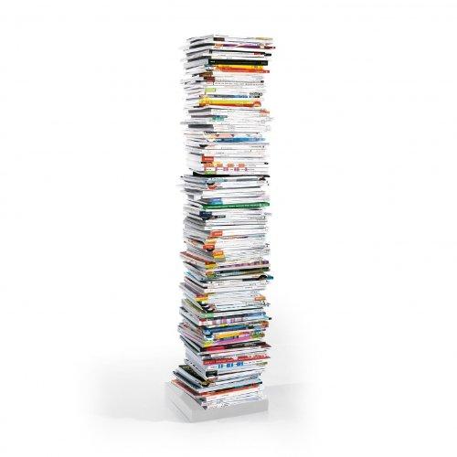 Opinion Ciatti Original Ptolomeo Büchersäule H 160cm, weiß RAL 9003 lackiert freistehend 12x12cm Fuß weiß 35x35cm 11x Regalboden verstellbar