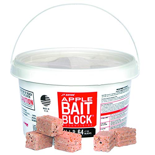 J T Eaton JT Eaton 704-AP Block Anticoagulant, Apple Flavor, for Mice and Rats (Pail of 64) rodenticide Bait