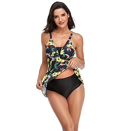 GUANGE Traje de baño de dos piezas para mujer, sin espalda, estampado floral, control de barriga, color amarillo, XXL