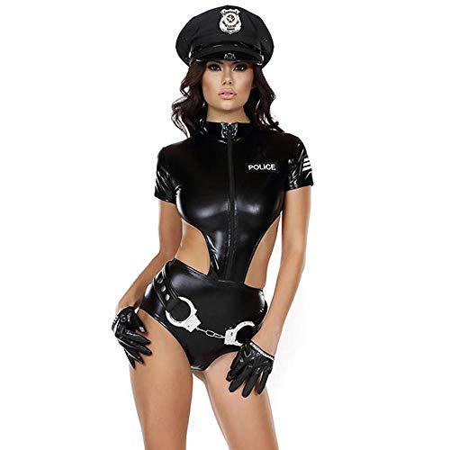 Damen-BHS Sexy Kunstleder Frauen Polizei Kostüme Ankünfte Weibliche Cop Handschellen Holloween Cosplay Sailor Kostüm Rollenspiel Cops Catsuits-Black_S