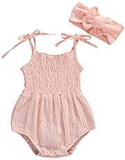 MAHUAOYIXI Conjunto de body para bebé y niña, de algodón y lino, sin mangas, con cinta para la cabeza, juego de 2 piezas, 0 – 18 m