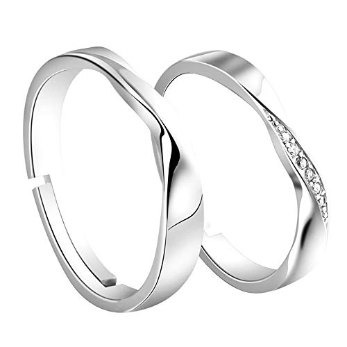 Ostory 指輪 ファッション 個性的な ペアリング シルバー925純銀製 ペア指輪 カップル リング 婚約リング 婚約指輪 スライド調整 フリーサイズ レディース メンズ アクセサリー