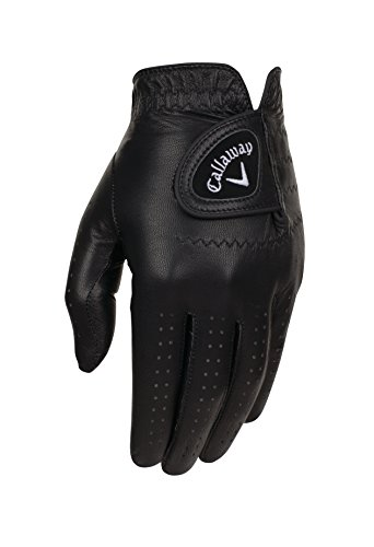 Callaway Golf Men's OptiColor Leather Glove, Black, Medium, Worn on Left Hand