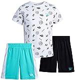 Reebok Baby Boys' Shorts Set – 3 Piece Short Sleeve T-Shirt and Shorts Playwear Set (Infant/Toddler), Size 24 Months, White/Teal/Navy