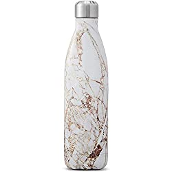 A reusable water bottle is a fantastic eco friendly gift for a traveler, especially this stylish gold and white marble one by Swell!