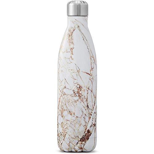 S'well Vakuumisolierte Edelstahl-Wasserflasche, 500 ml, Calacatta Gold