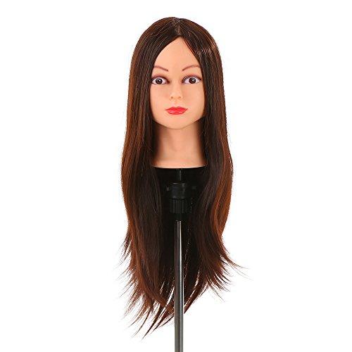Anself Maniquí de cabeza para práctica de peluquerías,30% 61cm del pelo humano,color marrón oscuro(con soporte)