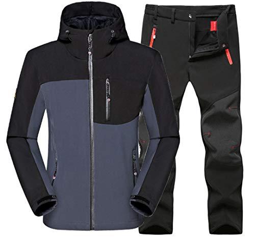 Homme d'hiver Ski de pêche imperméable Chaud Softshell Polaire Randonnée Veste Camping Trekking en Plein air et Pantalon Set Gray Black Suit XL