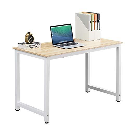 HJhomeheart Computertisch, Büro Schreibtisch Großer Gaming Tisch 120 x 60, PC Tisch Holz Modern Büro Arbeitstisch für Heimstudium Bürotisch Office Schreibtisch, Eiche