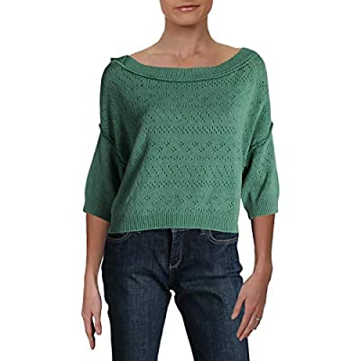 Free People Womens Sand Castle Ribbed Trim Cropped Pullover Sweater Green M by Free People