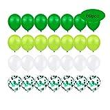 60Pcs Globos de Helio Globos de Confeti Globos de Decoración Cumpleaños Globos de Látex Verde Blanco para Decoración de Aniversario, Decoración de Fiesta de Graduación.