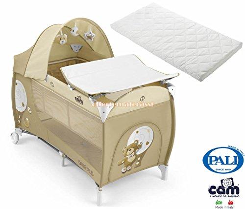 EFFETTO CASA Lettino Cam Daily Plus 219 Orso Beige con Doppia Altezza (SPEDIZIONE IMMEDIATA (Lettino e Materasso Pali Camping)