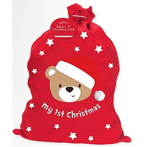 LARGE MY 1ST CHRISTMAS CUTE SANTA SACK RED STOCKING GIFT PRESENTS XMAS