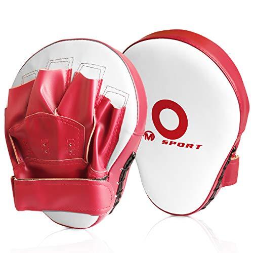 パンチングミット LangRay ボクシング ミット 2個セット キックボクシング テコンドー ムエタイ 空手 格闘技 トレーニング用 (赤白)