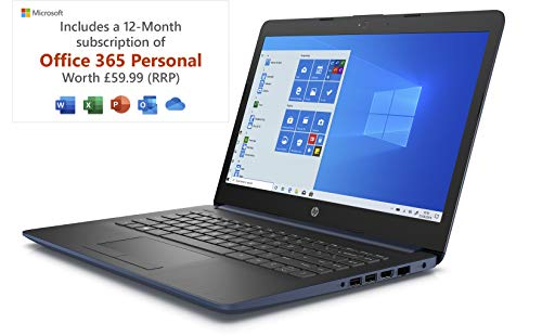 HP Stream 14-cm0045na 14 Inch Laptop - (Blue) (AMD A4-9125 Dual Core, 4 GB RAM, 64 GB eMMC, 1 TB OneDrive and Office 365, 1 Year Subscription Included, Windows 10 Home)