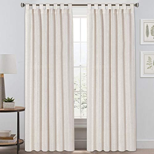 "Light Reducing Natural Linen Curtains for Living Room/Bedroom Privacy Assured Semi Sheer Textured Flax Curtain Draperies Light Filtering Soft and Durable, Tab Top 2 Panels (52"" W x 96"" L, Natural)"