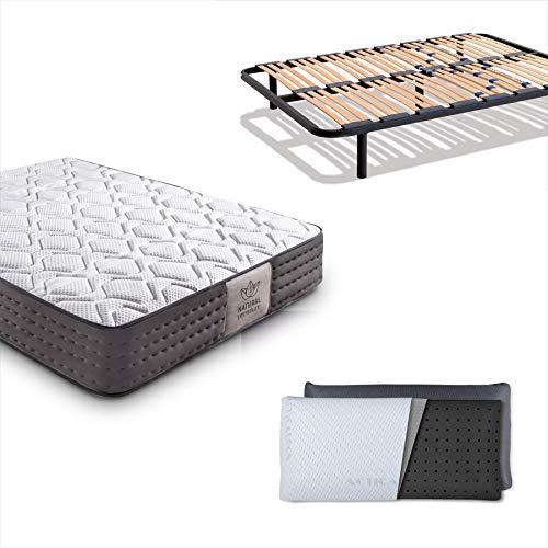 Dreaming Kamahaus Pack Somier Multiláminas + Colchón Luxury Visco Tencel + Almohada Carbono| 105 x 200 cm