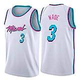 WOLFIRE WF Camiseta de Baloncesto para Hombre, NBA, Miami Heat #3 Dwyane Wade. Bordado, Transpirable y Resistente al Desgaste Camiseta para Fan (Blanca, M)