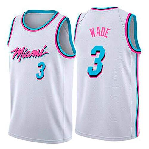 WOLFIRE WF Basketball-T-Shirt für Herren, NBA Miami Heat #3 Dwyane Wade, bestickt, atmungsaktiv und verschleißfest, Fan-T-Shirt (Weiß, XXL)
