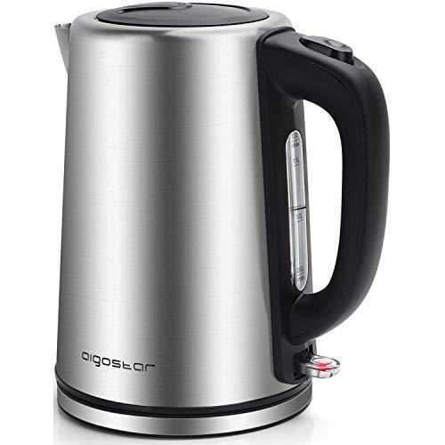 Aigostar Rob - Wasserkocher Edelstahl 1,7 Liter 2200 Watt, Elektrischer Wasserkessel Schnellkoch, Wasserstandsanzeige, Automatisch Abschaltung, BPA frei, Silber