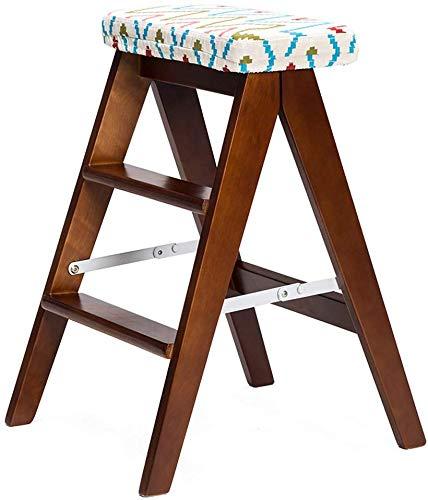 HJW Praktischer Hocker Hocker Folding Massivholz Kreative Einfache Klappleiter Küche Tragbarer Klappstuhl Heim Bank Schöne Und Stable,Weiß