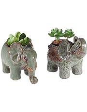 ledmomo 植木鉢 陶器 象 レトロ おしゃれ かわいい ミニ 花 多肉 観葉植物 2個セット