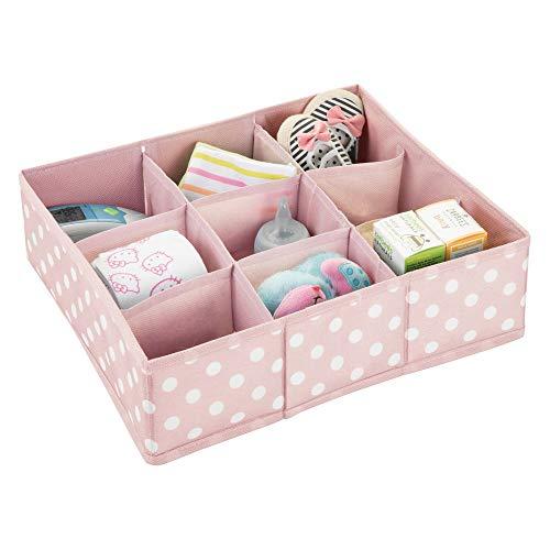 mDesign - Lade-organizer voor kinder-/babykamers - voor ladekasten en kledingkasten - ruim/9 compartimenten/zacht/stof - roze/wit