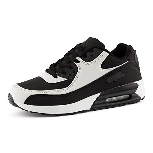 Fusskleidung Herren Damen Sportschuhe Dämpfung Neon Sneaker Laufschuhe Runners Gym Unisex Schwarz Weiss Schwarz EU 36