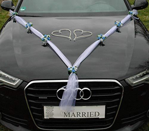 Hochzeitskränze Braut Paar Rose Deko Dekoration Autoschmuck Hochzeit Car Auto Wedding Deko Girlande PKW ®Auto-schmuck… (Blau)