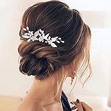 Aukmla Horquillas para el pelo de novia, diseño de hojas plateadas, con ópalo, para mujeres y niñas (3 unidades)