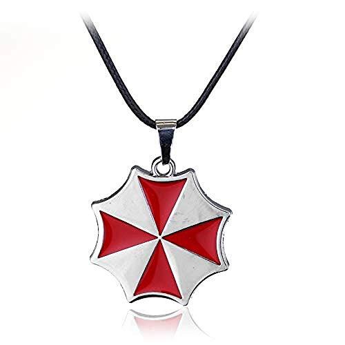 Collares Alice Umbrella Corporation Esmalte Rojo Colgante de Plata Logo Juego Joyería