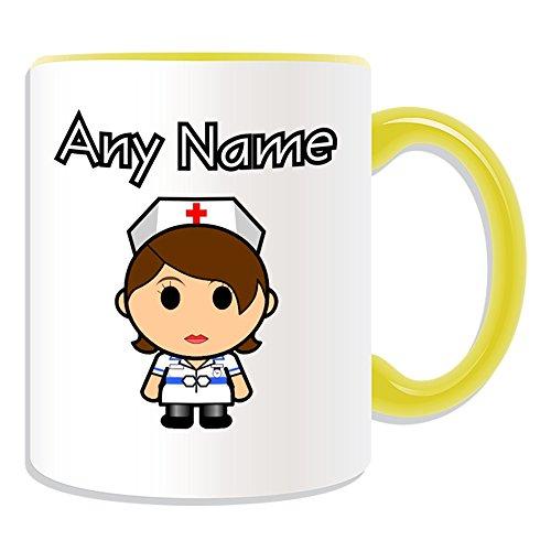 Gepersonaliseerd geschenk - Verpleegster in witte jurk bruin haar mok (Carrière ontwerp thema, kleur opties) - elke naam / bericht op uw unieke - nationale NHS ziekenhuis werknemer personeel uniform rood kruis hoed algemene praktijk huisarts beroep