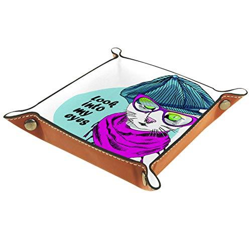 Valet Tray Leder Catchall Schmucktablett Würfelbox Nachttisch Tablett Schlüssel Telefon Münze Wechseluhr Süßigkeiten Halter Kleinteile Diele Tablett Vector White Cat mit Brille und Kappe