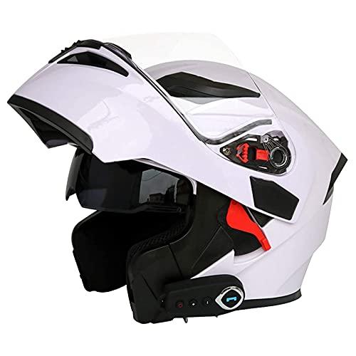Casco de motocicleta Bluetooth Casco de motocicleta certificado ECE, con visera solar, máscara protectora antivaho doble, casco de protección integral, radio FM incorporada, apto para adultos,C,L