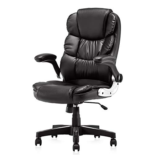 Office Chair, High Back Premium PU Leather Office Computer Swivel Desk Task Chair, Ergonomic Executive Chair with Lumbar Padding and Flip-up Armrests (61AB33BK)