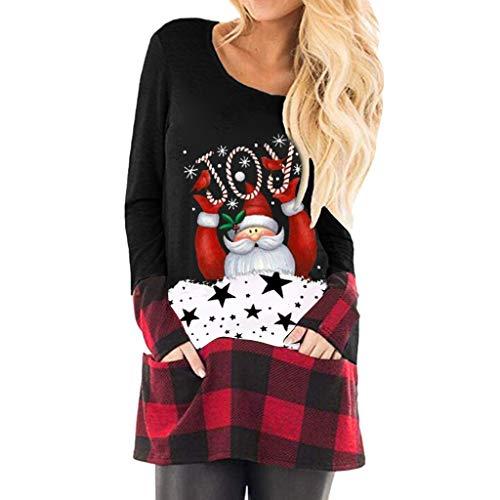 Writtian Pullover Damen Weihnachten Kostüm für Frauen Langarm Asymmetrisch Rundhals Bluse Tops Oversize Xmas Pulli Langarmshirt Kariert Patchwork Loose Bluse Oberteile Tasche