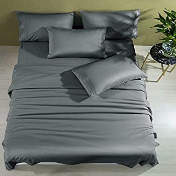 Shilucheng Cool 6PC 100% Bamboo Full Size Bed Sheets Set 1800 Thread Count 16 Inch Deep Pockets Eco Friendly Soft Comforterble Wrinkle Fade and Hypoallergenic  Full,Dark Grey