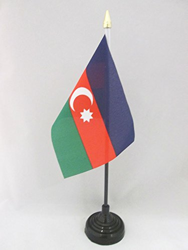 AZ FLAG TISCHFLAGGE ASERBAIDSCHAN 15x10cm goldene splitze - ASERBAIDSCHANISCHE TISCHFAHNE 10 x 15 cm - flaggen